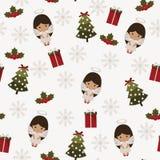 Festlig sömlös modell för jul stock illustrationer