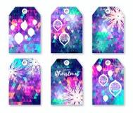 Festlig samling av polygonal juletiketter för neon med snöflingor Arkivfoton