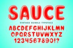 Festlig stilsortsdesign för glansig bubbla, färgrikt alfabet royaltyfri illustrationer