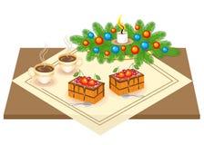 festlig tabell Läcker kaka och te, coffe En julbukett från en julgran och en stearinljus ger ett romantiskt lynne vektor vektor illustrationer