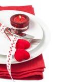 Festlig tabellinställning för valentin dag Arkivbilder