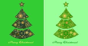 Festlig uppsättning av gröna kort med julgranar Fotografering för Bildbyråer
