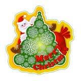 Festlig vektorklistermärke Santa Claus på julgranen av openwork snöflingor och en påse av gåvor på en ljus gul bakgrund vektor illustrationer