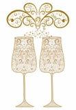 Festliga dricka exponeringsglas av wine Arkivfoto