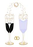 Festliga gifta sig exponeringsglas med dekorillustrationen Royaltyfria Bilder