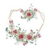 Festliga gifta sig ramar med färgrika suckulenter Härliga växter, i buketter för kort, inbjudningar, kort stock illustrationer