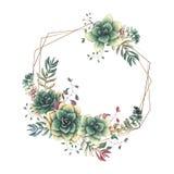 Festliga gifta sig ramar med färgrika suckulenter Härliga växter, i buketter för kort, inbjudningar, kort royaltyfri illustrationer