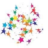 festliga konfettiar Kulöra fallande stjärnor Vektorberömbaksida Arkivfoto