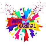 Festligt begrepp för lycklig karneval med den musikaliska trumpeten, maskeringen, kanter och konfettier som isoleras på vit bakgr Arkivfoto