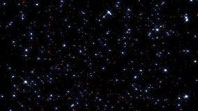 Festligt falla för konfettier Runda konfettier isolerade på en svart bakgrund som ner slätt och långsamt faller Violetta vers 14 stock video