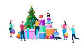Festligt folk som förbereder sig för julberöm royaltyfri illustrationer
