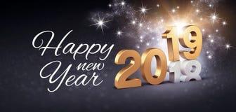 Festligt hälsa kort för lyckligt nytt år 2019 royaltyfri illustrationer