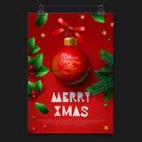 Festligt hälsningkort för glad jul med bolljulgarnering Royaltyfri Foto
