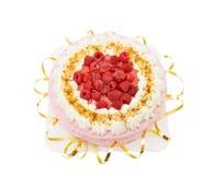 festligt hallon för cake Royaltyfri Foto