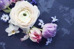 Festligt inbjudankort med härliga blommor på den mörka backgen Royaltyfri Foto