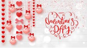 Festligt kort för lycklig valentindag Bakgrund med hjärtor och härlig bokstäver på trätextur också vektor för coreldrawillustrati vektor illustrationer