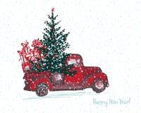Festligt kort för nytt år 2018 Den röda lastbilen med granträdet dekorerade röda bollar vektor illustrationer