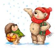 Festmåltid av jul Gullig björn och igelkott med gåvor Arkivfoto