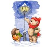Festmåltid av jul Gullig björn och igelkott med julgåvor Arkivbilder