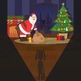 Festmåltid av jul Santa Claus skrämdes på sikten av barnet Barnet såg Santa Claus Vektorlägenhet Arkivfoton