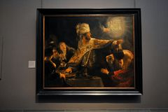 Festmåltid för Belshazzar` s av Rembrandt på det nationella stående gallerit, London Arkivbilder