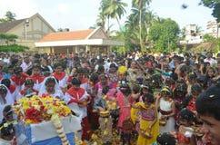 Festmåltiden av Kristi födelse av vår dam, 'Monthi Fest' som firas i Mangalore Royaltyfria Bilder