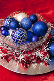 Festove Red and Blue Holiday Ornaments Stock Photo