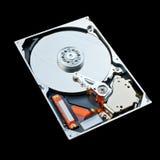 Festplatte des Computers lokalisiert auf schwarzem Hintergrund Lizenzfreie Stockbilder