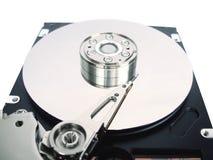 Festplatte des Computers mit geöffneter Abdeckung Stockbild