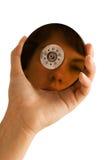 Festplatte, die ein Gesicht reflektiert Stockfotos