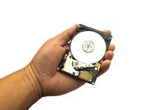Festplattenlaufwerk angehalten in einer Hand stockbild