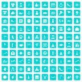 100 Festtagsikonen stellten Schmutz blau ein Stockfoto