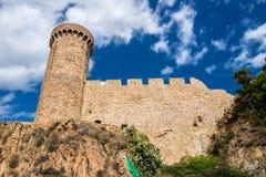 Festung auf einem Felsen in Tossa de Mar Stockfotos