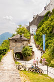 Festung Hohensalzburg Castle. Way up to the medieval castle in S Stock Photos