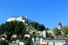 Festung Hohensalzburg. Hohensalzburg fortress atop the Moenchsberg in Salzburg, Austria Stock Image
