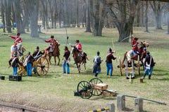 Festung Josefov, Demonstration eines Kampfes im 19. Jahrhundert Stockfotografie