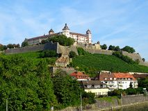 Marienberg Fortress German: Festung Marienberg is a prominent landmark on the left bank of the Main river in Wuerzburg, in the Fr. Festung Marienberg is a royalty free stock photos