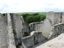 Festung Philippe Auguste in den Ruinen im mittelalterlichen Dorf von Yevre-chatel stockfotografie