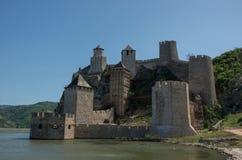 Festung/Schloss Golubac, errichtet im 14. Jahrhundert, auf dem Verbot Lizenzfreies Stockbild