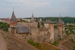 Festungsansicht, Kamianets-Podilskyi, Ukraine stockbilder