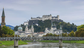 Festungsberg with Hohensalzburg Castle, view from Salzach river in Salzburg, Austria Royalty Free Stock Photography