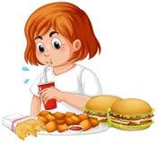 Fet flicka som äter snabbmat royaltyfri illustrationer