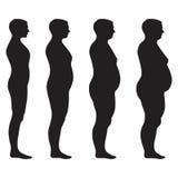 Fet kropp för vektor, viktförlust, stock illustrationer
