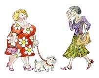 Fet kvinna som går den feta hunden vektor illustrationer