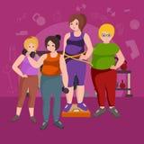 Fet kvinna Ung nätt kvinnlig för tecknad filmstilkondition i idrottshall vektor illustrationer