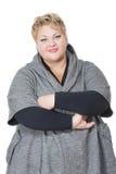 fet lycklig kvinna bakgrund isolerad white I Arkivbilder