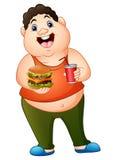Fet man för tecknad film som rymmer en hamburgare med att dricka sodavatten royaltyfri illustrationer