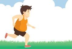 Fet mankänsla tröttade till att jogga in parkerar Arkivbilder