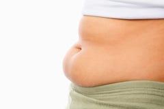 fet obese tummy för begrepp Royaltyfria Bilder