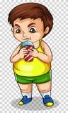 Fet pojke som dricker sodavatten från koppen stock illustrationer